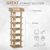 HOMCOM 7-Tier Shelf Shoe Rack Narrow Organiser Storage Hallway Living Brown