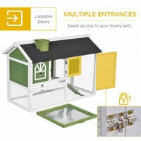 PawHut Rabbit Hutch Wood Bunny Cage for Outdoor Indoor w/ Pull Out Tray Green