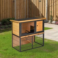 PawHut 2-Tier Outdoor Wood House & Metal Run Rabbit Hutch Pet w/ Ramp