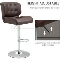 HOMCOM Set Of 2 PU Leather Racing Style Bar Stools Cool Retro Seating Dining Brown