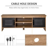HOMCOM Rustic-Industrial TV Stand Cabinet Storage Unit w/ Drawers Cupboards