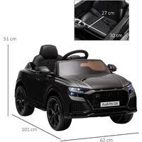 HOMCOM Kids Licensed Audi RS Q8 Electric Ride-On Car Vehicle Toy w/ Remote Black