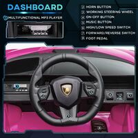 HOMCOM Kids Licensed Lamborghini SIAN Electric 12V Ride-On Car 3-5 Yrs Pink