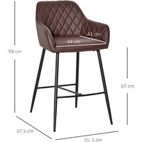 HOMCOM Set Of 2 PU Leather Bar Chairs w/ Quilted Back Footrest Metal Frame