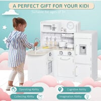 HOMCOM Kids Play Kitchen Wooden Toy Kitchen Cooking Set for Children with Drinking Fountain, Microwave, and Fridge White