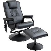 HOMCOM Manual Sofa Reclining Armchair PU Leather Massage Recliner Chair and Ottoman, Black