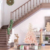HOMCOM 150cm Artificial Christmas Tree Holiday Home Decoration with Metal Stand, Automatic Open, White and Pink