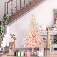 HOMCOM 180cm Artificial Christmas Tree Holiday Home Decoration with Metal Stand, Automatic Open, White and Pink