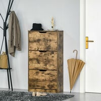 HOMCOM Shoe Cabinet with 3 Flip Doors, Storage Rack with Open Compartment, Internal Dividers, for 12-18 Pairs of Shoes, Rustic Brown