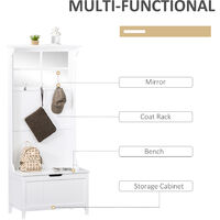 HOMCOM Coat Rack Shoe Bench with Storage 4 In 1 Hall Tree for Entryway Hallway Organizer with Cabinet 3 Hooks Mirrors White