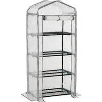 Outsunny 4 Tiers Mini Portable Greenhouse Plant Grow Shed Metal Frame PE Cover 160H x 70L x 50Wcm, White