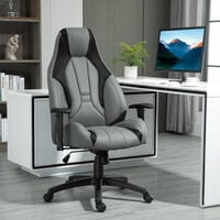 Vinsetto High Back Executive Office Chair Mesh & Fuax Leather Gaming Gamer Chair with Swivel Wheels, Adjustable Height and Armrest, Charcoal Grey