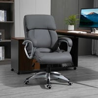 Vinsetto High Back Home Office Chair Swivel Executive PU Leather Ergonomic Chair, with Adjustable Height, Deep Grey