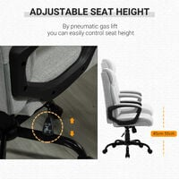 Vinsetto High Back Executive Chair Ergonomic Task Seat Home Office Swivel Computer Chair for Sturdy with Padded Armrests, Adjustable Height, Light Grey