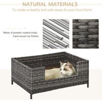 PawHut Rattan Small Elevated Dog Bed Raised Pet Sofa for Small Dogs and Cats with Soft Machine Washable Cushion Indoor Grey 61L x 46W x 27H cm