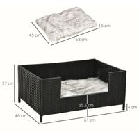 PawHut Rattan Small Elevated Dog Bed Raised Pet Sofa for Small Dogs and Cats with Soft Machine Washable Cushion Indoor Black 61L x 46W x 27H cm