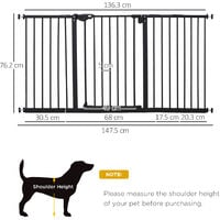 PawHut Retractable Pet Safety Gate Dog Barrier Home Doorway Corridors Room Divider Stair with 3 Extensions and Adjustable Screws Black 76.2 x 152.3 cm