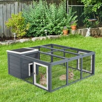 PawHut Rabbit Hutch Small Animal Guinea Pig House Ferret Bunny Cage Duck House Rabbit Hideaway Chinchilla Cage Outdoor Indoor Backyard with Openable Main House & Run Roof Dark Grey 123x120x52cm