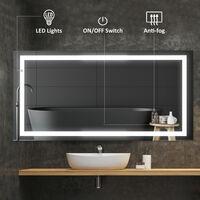 HOMCOM LED Bathroom Mirror Wall Mounted Illuminated Sensor (120W x 60H X 4D cm)