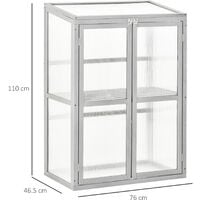 Outsunny 1.5x2.5ft Wood Cold Frame Greenhouse Outdoor Indoor Grown House