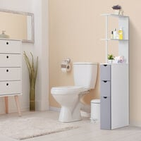 HOMCOM Bathroom Cabinet Tall Shelf Toilet Tissue Cupboard w/ Drawers