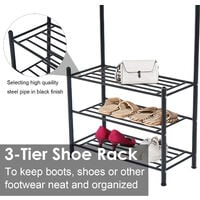 HOMCOM Multi-purpose Metal 18 Coat Hooks Shoes Rack Umbrella Stands - Black