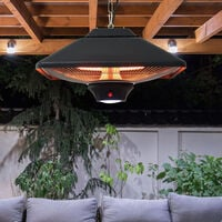 Outsunny 2kw Outdoor Ceiling Mounted Aluminium Halogen Heater LED w/ Remote Control