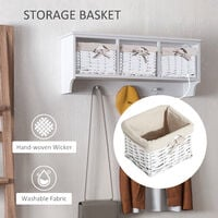 HOMCOM Entryway Coat Rack Wall Mounted Shelf w/ Wicker Basket 3 Baskets - White