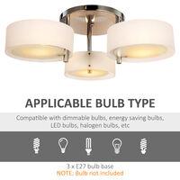 HOMCOM Acrylic Lamp Indoor 3 Light Pendant Chandelier Flush Mount w/ Chrome Finish