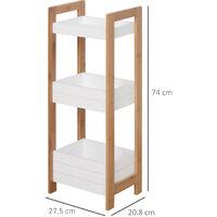 HOMCOM 3 Tier Storage Shelf Bamboo Organiser Bathroom Shower Caddy Display Rack Baskets