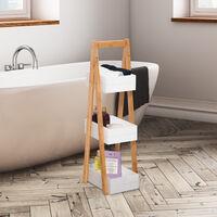 HOMCOM 3 Tier A Frame Bathroom Shower Caddy Freestanding Rack Bamboo Storage Unit Shelf Organiser