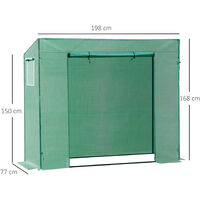 Outsunny Greenhouse with PE Plant Cover w/ Windows and Door (198L x 77W x 149-168H (cm))