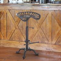 HOMCOM Vintage Industrial Metal Tractor Adjustable Seat Bar Stool Cast Iron