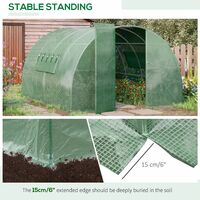 Outsunny Reinforced Walk In Polytunnel Greenhouse with Steel Frame and Door - 4 x 3m