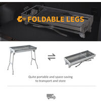 Outsunny Portable Stainless Steel Charcoal BBQ Grill Picnic Garden Camping