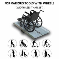 HOMCOM Portable Folding Aluminum Ramp with Carry Handle for Wheelchair Pet - 2ft