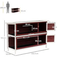 """PawHut 54"""" Two Floor Wooden Rabbit Hutch Small Pet Animal House Cage"""