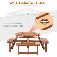 Outsunny 8 Seater Round Wooden Pub Bench Picnic Garden Table