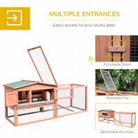 PawHut 2 Floor Wooden Rabbit Hutch Cage Chicken Coop Outdoor Backyard