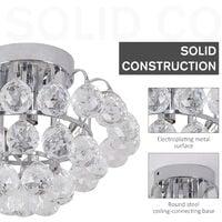 HOMCOM Ceiling Lamp Chandelier Hallway Flush Mount Pendant 3 Light Crystal Silver D30cm