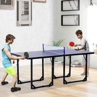 HOMCOM 183cm Mini Tennis Table Folding Ping Pong Table with Net
