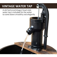 Outsunny Barrel Water Fountain Garden Decorative Water Feature w/ Electric Pump