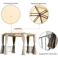 Outsunny 2m Hexagonal Gazebo Canopy Party Tent Garden Shelter 2 Tier Roof - Beige