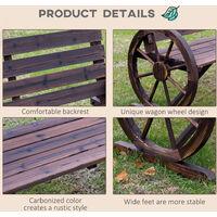 Outsunny Wooden Cart Wagon Wheel 2 Seater Garden Bench High Back Loveseat