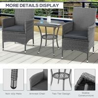 Outsunny 3PC Rattan Bistro Set Furniture Garden Coffee Table Wicker - Grey