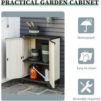 Outsunny Plastic Utility Cabinet Garden Tool Double Door Storage Adjustable Shelves - Beige