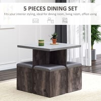 HOMCOM 5 Pieces Dining Table 4 Storage Ottoman Chair Seat Removable Lid