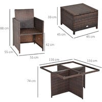 Outsunny 9 Pieces Rattan Dining Set Garden Furniture Cushion Seat Woven Rattan - Brown