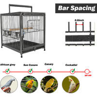PawHut Metal Parrot Cage Bird Carrier Travel Wooden Perch Cup Holder Handle - Black