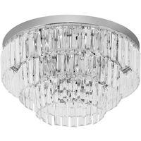 HOMCOM Crystal Light Ceiling Lamp Living Room Chandelier Mount Fixture Hallway Flush